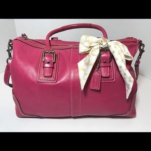 Coach Pink Leather Convertible crossbody w scarf
